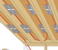 Q-Panels Attached to Floor Joists, hugging PEX Tubing